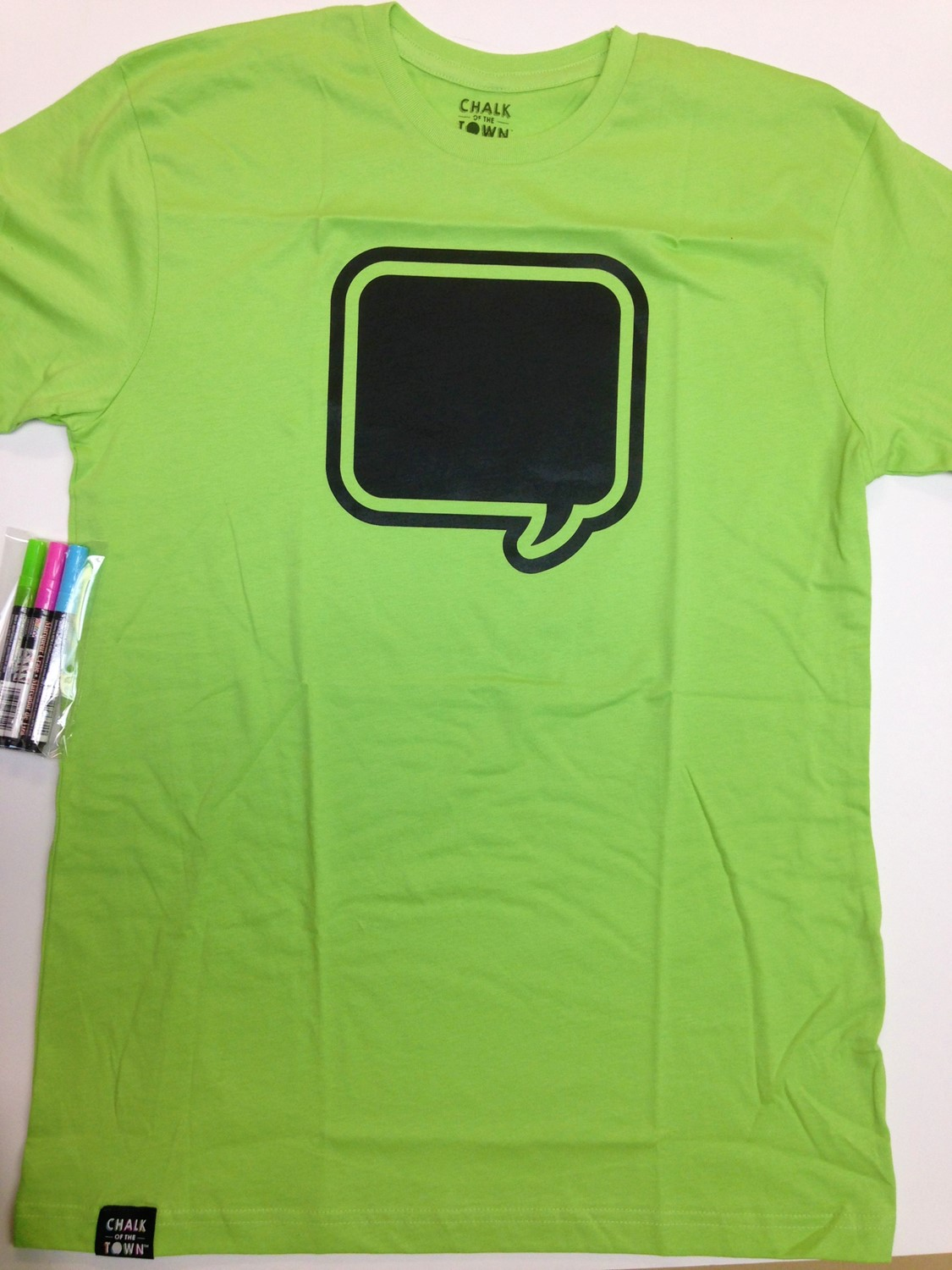 CHALK of the TOWN Chalkboard T-Shirt-Lime Green-XLarge