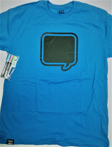 CHALK of the TOWN Chalkboard T-Shirt-Blue-XLarge
